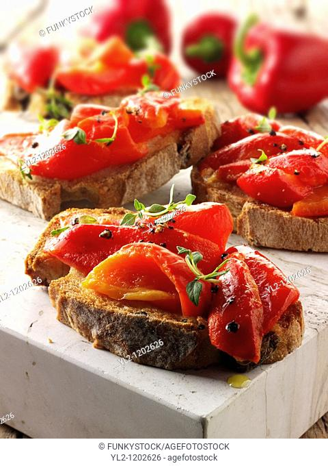 Roast red peppers on toasted rye bread sandwiches - bruschettas