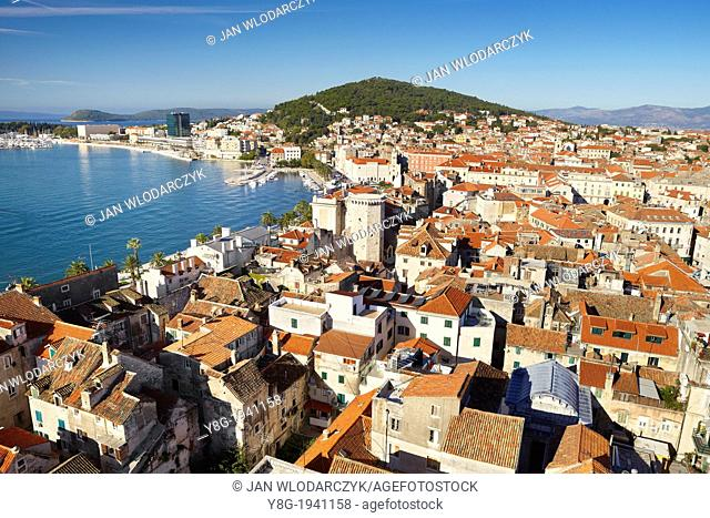 Croatia - Split, aerial view at Old Town of Split and harbor, Dalmatia, Croatia, UNESCO