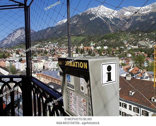 Innsbruck, view from tower Martinsturm to the mountain Nordkette