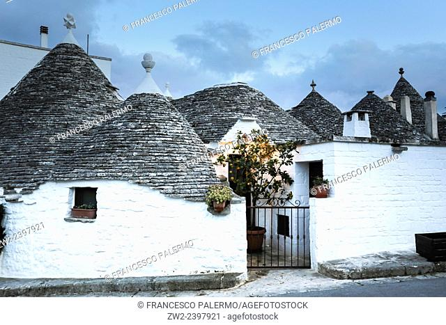 Characteristic houses named Trulli located at mid of Puglia land. Alberobello, Puglia. Italy