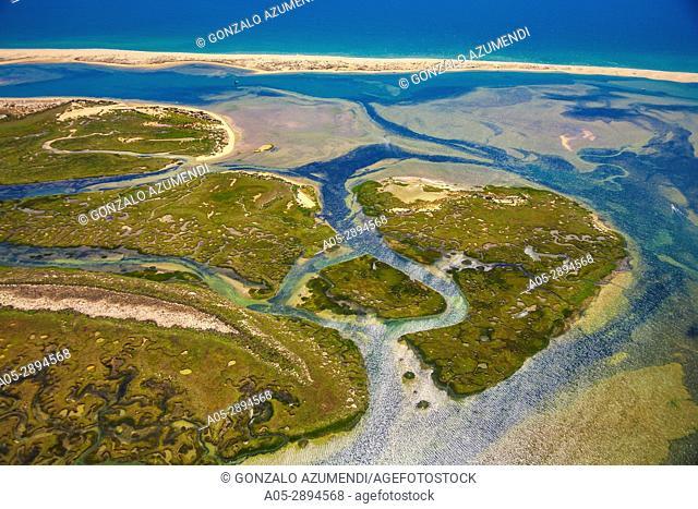 Barreta or Deserta island and Praia da Barreta beach. Ria Formosa, natural park . Faro district. Algarve. Portugal