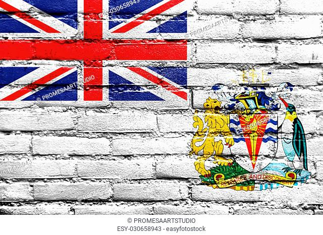 Flag of the British Antarctic Territory, painted on brick wall