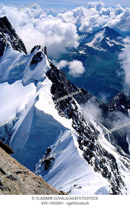 View of Rochefort ridge from Dent du Geant, Mont Blanc mountain massif, Savoy Alps, France