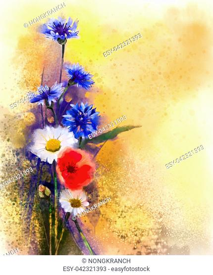 Watercolor red poppy flowers, blue cornflower and white daisy painting. Flower paint in soft color and blur style, Soft light yellow brown texture background