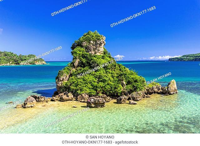 Sea of coral reef from Kouri bridge, Kouri Island, Okinawa, Japan