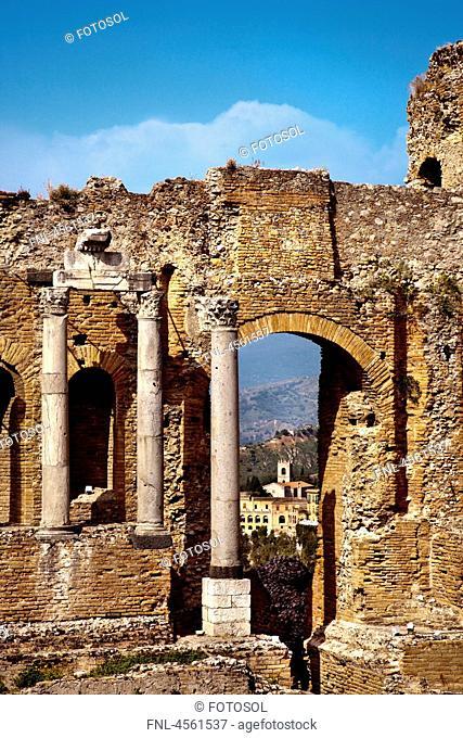 Teatro Greco and Etna, Taormina, Sicily, Italy