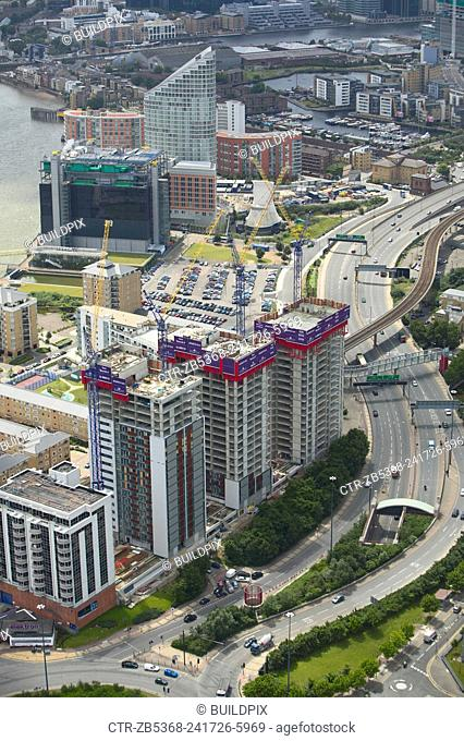 Aerial view of Electron, a residential property development by Barratt, London Docklands, Thames Gateway, UK