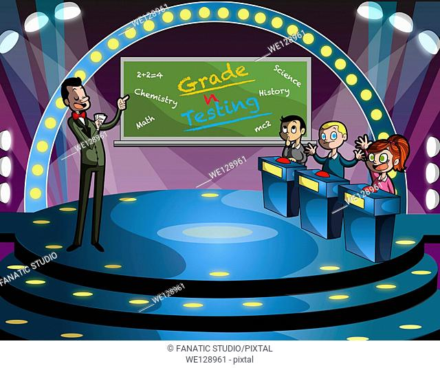 Illustration of host and children in quiz competition