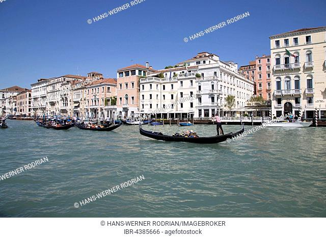 Gondolas on the Grand Canal, Cannaregio, Venice, Veneto, Italy