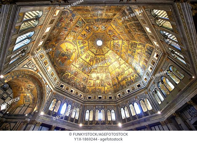 The interior of the Bapistry of Florence Duomo  Battistero di San Giovanni  with the medieval ceiling mosaics  Florence Italy