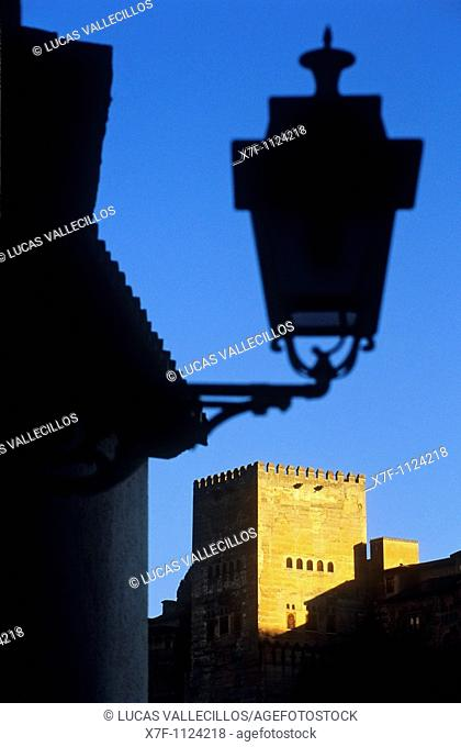 Alhambra Comares tower as seen from Albaicín quarter  Granada, Andalucia, Spain