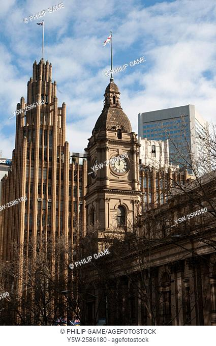 Melbourne Town Hall tower and Manchester Unity Building in Collins Street, Melbourne, Australia