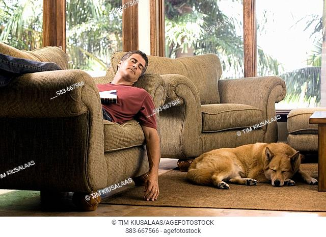 Man sleeping on chair with dogs sleeping on floor next to him