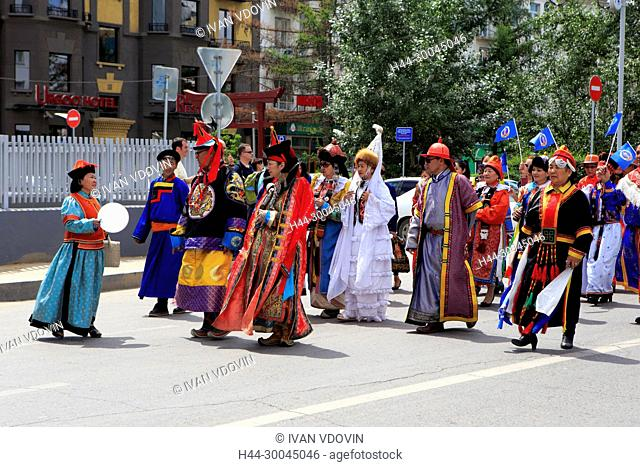 People in traditional costumes, Independence day manifestation, Ulan Bator, Mongolia