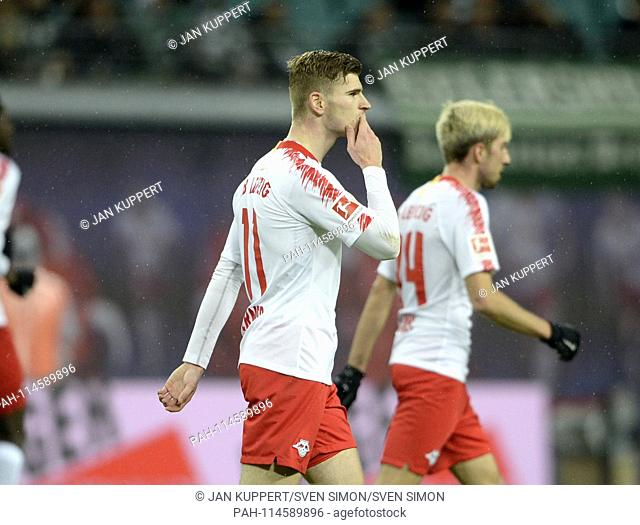 Timo WERNER (L) jubilation, cheering, joy, victory, happy, success, football 1. Bundesliga, 17th matchday, RB Leipzig (L) - Werder Bremen (HB) 3: 2, on 22