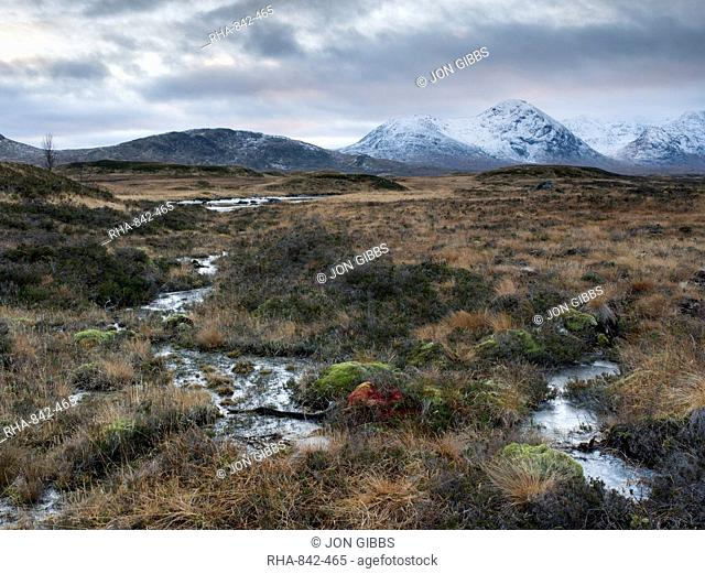 A view of the Black Mount and Rannoch Moor, Argyll, Scotland, United Kingdom, Europe