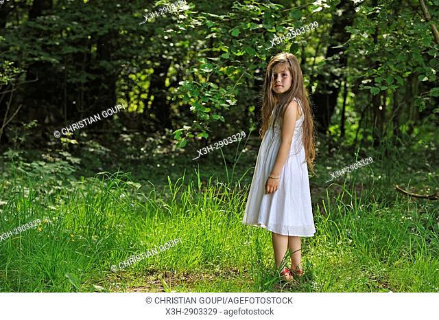 fillette en Foret de Rambouillet, Parc naturel regional de la Haute Vallee de Chevreuse, Departement des Yvelines, Region Ile-de-France, France