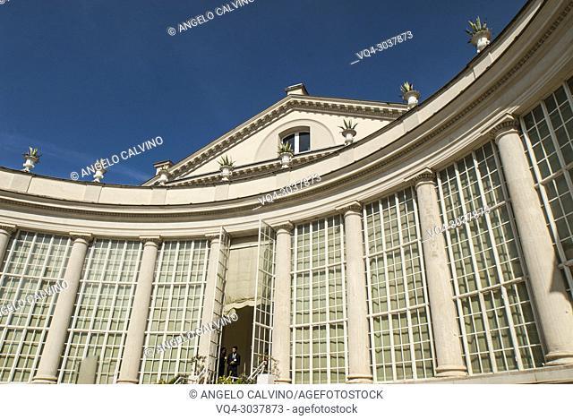 The back entance to Theatre of Villa Torlonia, Quintiliano Raimondi 1841, once residence of Mussolini, now a museum and public park, Nomentano, Rome, Lazio