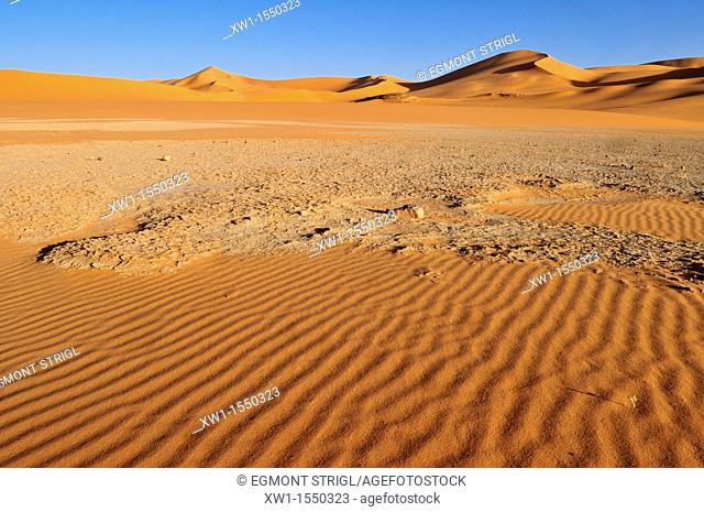 salt and clay pan and sanddunes of In Tehak, Tadrart, Tassili n' Ajjer National Park, Unesco World Heritage Site, Algeria, Sahara, North Africa