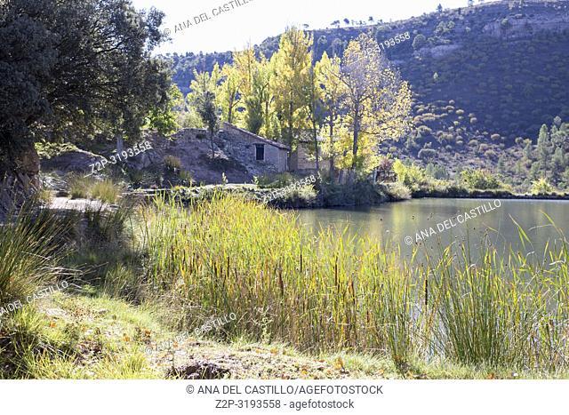 Autumn country and old pond in Mora de Rubielos Teruel Aragon Spain