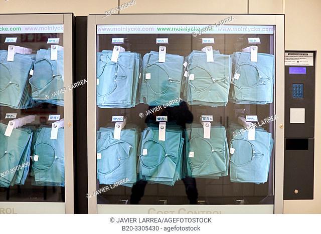 Dispensing machine for surgical clothes, Disposable surgical pajamas, vending machine, Hospital Donostia, San Sebastian, Gipuzkoa, Basque Country, Spain