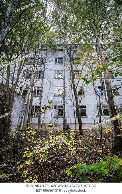 Hospital building in Pripyat town, Chernobyl Nuclear Power Plant Zone of Alienation, Ukraine