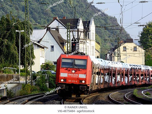 GERMANY, KAMP-BORNHOFEN, 08.09.2014, DEU , GERMANY : A cargo train / freight train of Deutsche Bahn AG is passing through Kamp-Bornhofen - Kamp-Bornhofen