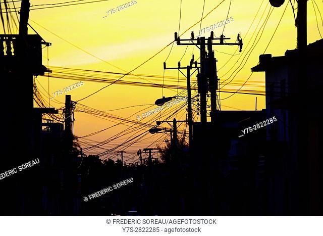 Electric powr line, Trinidad, Cuba