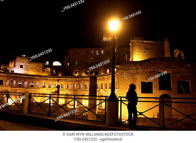 Light show at the market of Trajan archaeological site in Rome Italy