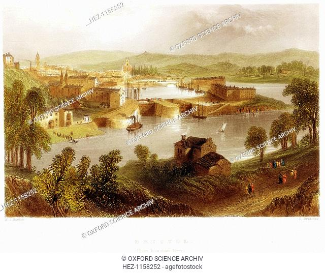 'Bristol from Rownham Ferry', 1841. This picture shows the locks leading into the docks from the tidal river Severn. Shipping is moored in the docks and which...