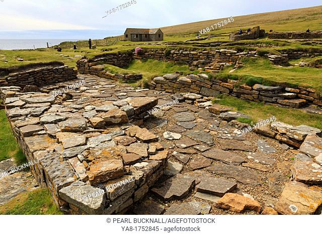 Birsay, Orkney Mainland, Scotland, UK, Great Britain, Europe  Remains of Norse sauna in a settlement excavated on the Brough of Birsay