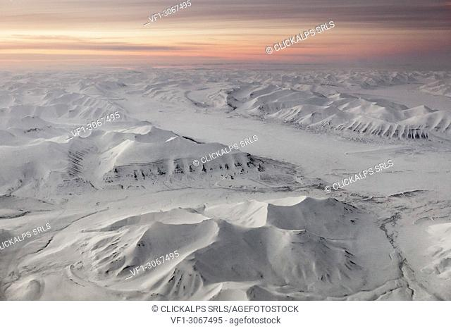 Aerial view of Spitsbergen at night in early spring, Svalbard