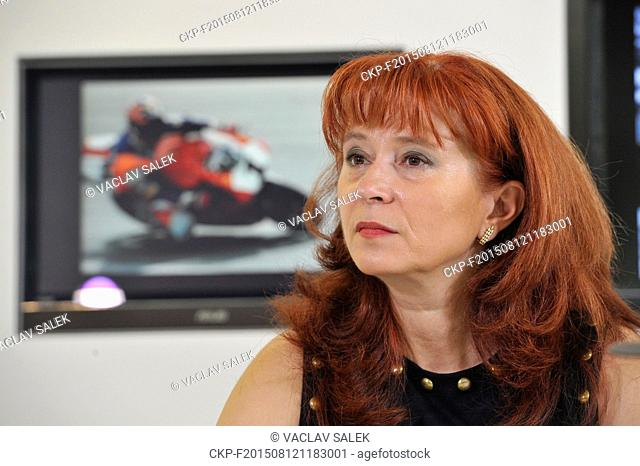 Brno Circuit CEO Ivana Ulmanova attends a news conference prior to the Grand Prix of Czech Republic 2015, in Brno, Czech Republic on Wednesday, August 12, 2015