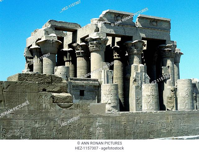Hellenistic temple at Kawm Umbu (Kom Ombo) Egypt, c2nd century-1st century BC. The temple was begun by Ptolemy VI Philometer (c191-145 BC) and was added to by...