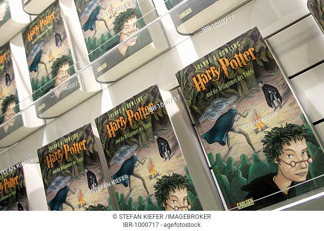 Dummies of the German edition of Harry Potter vol. 7 Harry Potter and the Deathly Hallows at publisher Carlsen's exhibition stand, Frankfurt Book Fair 2007
