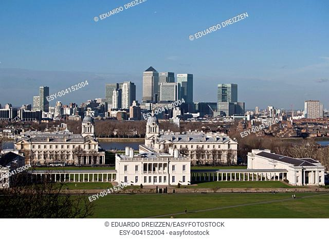 Old Royal Naval College, Greenwich Park, and Canary Wharf, London