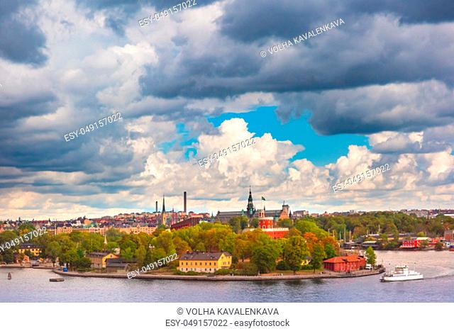 Scenic panoramic view of Stockholm, capital of Sweden
