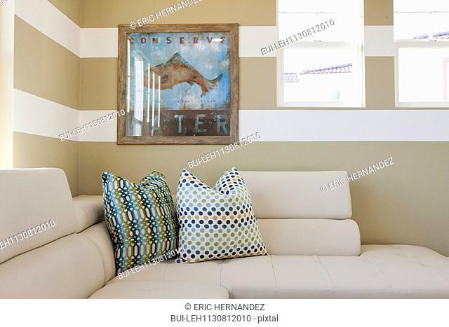 Cushions on sectional sofa; Valencia; California; USA