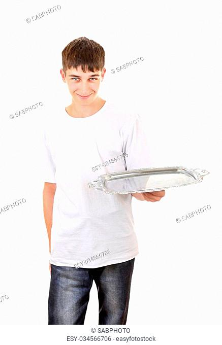 Teenager with Empty Salver Isolated On The White Background