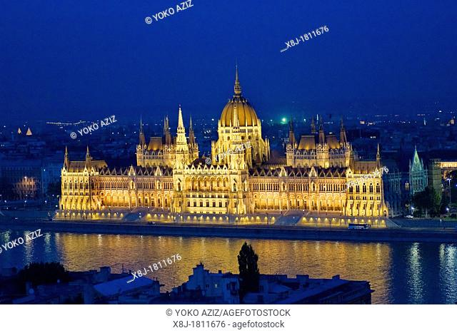 Hungary, Budapest, The neo-gothic Hungarian Parliament building, designed by Imre Steindl