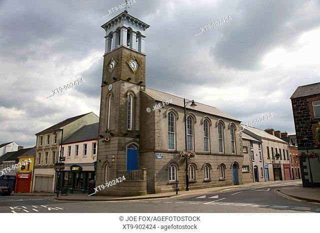 ballymoney town clock tower and masonic hall county antrim northern ireland uk the hall was previously a market house courthouse town hall and school
