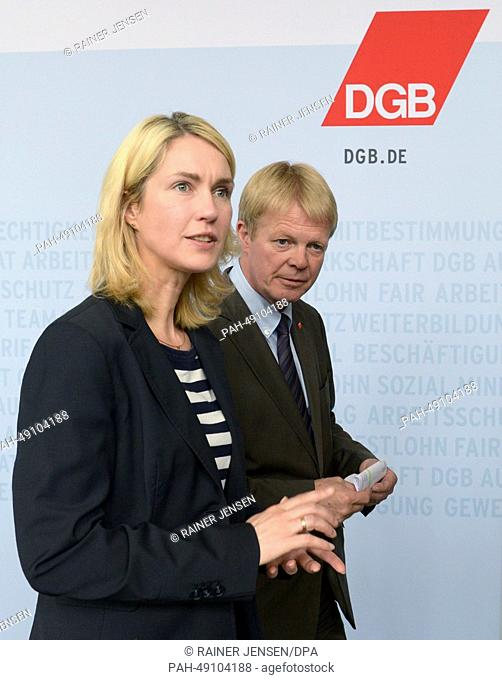 DGB Chairwoman Reiner Hoffmann and German Family Minister Manuela Schwesig (SPD) make a statement after a joint meeting with the chairmanship of the...