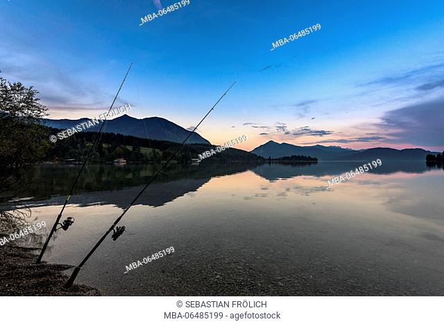 Two fishing rods in the dusk in the crystal-clear Walchensee, in the background peninsula Zwergern, Herzogstand and Jochberg