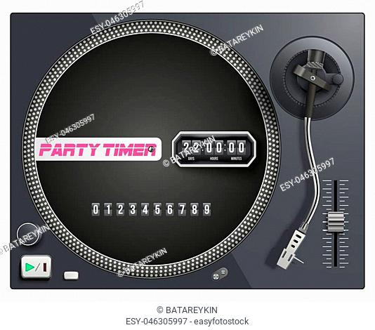 Illustration with modern turntable and timer to start event. Vector Isolated on white background