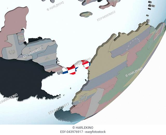 57aa3b25 Panama on political globe with embedded flag. 3D illustration