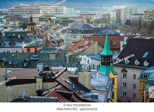 Austria, Tyrol, Innsbruck, elevated view of central Innsbruck