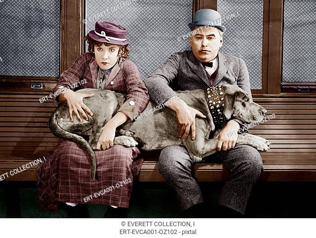Couple with big dog on laps Old Visuals