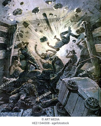A firedamp explosion in a French coal mine, France, 1892. A print from a supplement to the Le Petit Journal, 2nd April 1892