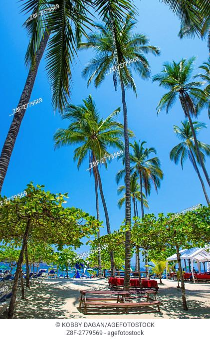 Tropical beach in Tortuga island Costa Rica. The island covers approximately 300 acres and includes forests and beaches