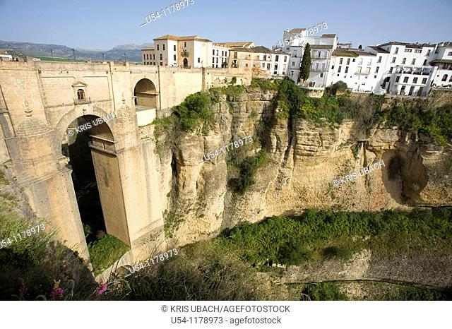 NEW BRIDGE IN RONDA. MALAGA. ANDALUCIA. SPAIN